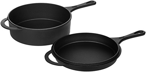 AmazonBasics Pre-Seasoned Cast Iron Skillet and Dutch Oven Set