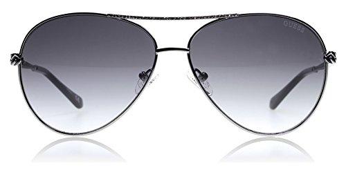 Guess Damen GU 7470-S Sonnenbrille, Shiny Gunmetal/Gradient Smoke, 60