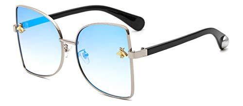 ZIYIZNL Sonnenbrillen Sonnenbrille Dame Persönlichkeit Metall Katzenaugen Biene Sonnenbrille Männliche Sonnenbrille, J
