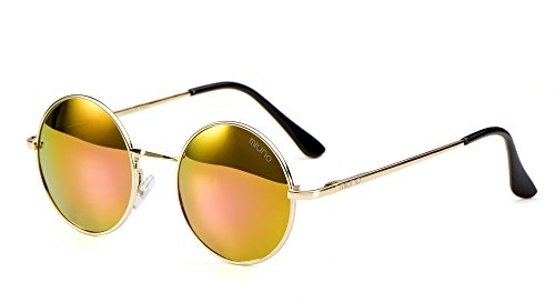 Miuno Sonnenbrille mit runden Gläsern UV400 Herren Damene mit Etui Nickelbrille Federscharnier 8088 (Gestell: gold/Glässer:rotgoldverspiegelt)