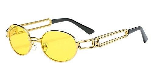 BOZEVON Retro UV400 Männer doppelte Rahmen-ovale Sonnenbrille-Schutzbrillen Gold-Gelb