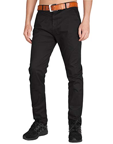 Italy Morn Herren Chinohose Chino Casual Business Stoff Hose Slim Fit (XS, Schwarz)