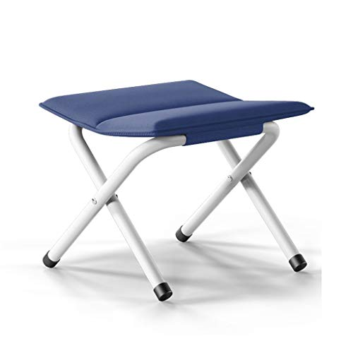 WEIFAN-Furniture Tragbarer Klapphocker verdickter Stuhl Fischen Mazar Erwachsenen im Freien kleine Bank ändern Schuh Hocker (blau)