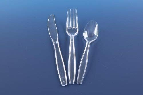 150 Reusable Clear Heavy Duty Plastic Cutlery - 50 forks, knives, spoons