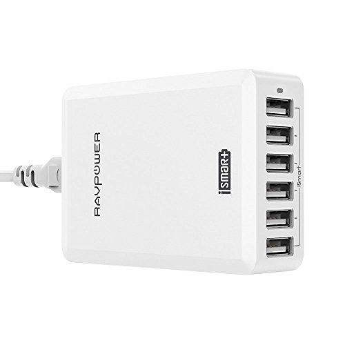 Caricatore da Muro da 60W con 6 Porte USB di RAVPower + Stazione di Ricarica (Ricarica iSmart, Compatibilità Universale, da 100V a 240V, Triplo Meccanismo di Protezione, Indicatore LED) Bianco