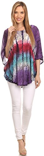 Sakkas Ellesa Ombre Bindung Farbstoff Kreis Poncho Bluse Hemd Top mit Pailletten-Stickerei Lila