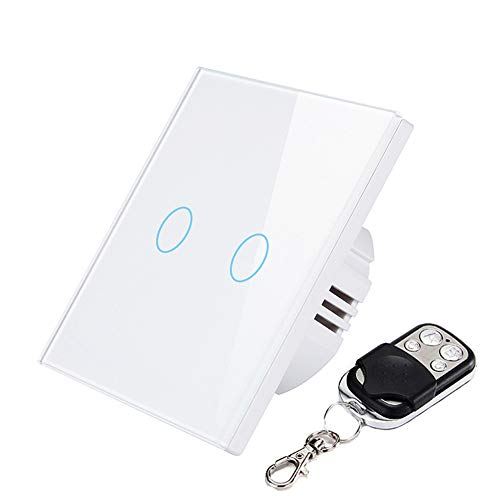 AOEIUV EU/UK 2 Gang 1-Wege-Fernbedienung Touch-Schalter Fernbedienung Wandleuchte Schalter Kristall aus gehärtetem Glas,White -