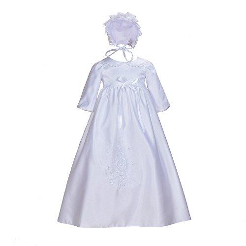 Cinda Traditionelle Baby-Satin Langarm Taufkleid und Motorhaube Weiß 62-68