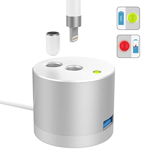 MoKo LED Ladeanzeige Ladestation Ladegerät Ständer Kompatibel mit Apple Pencil 1st Gen, Aluminium Tragbare Desktop Charger Dock Pen Charging Station für iPad Pro 12.9 10.5 9.7/Mini 5 2019 Pencil - Air Ipad Charge Base