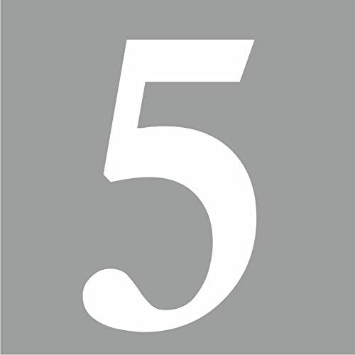"""Preisvergleich Produktbild iSecur® Aufkleber """"selbstklebende Hausnummer - 5 -"""",  Farbe: Weiß,  Art. Nr. kfz_268_5_10cm / Außenbereich,  Ziffern,  Zahlen,  Nummern,  Wohnung,  Haus,  Loft,  Appartement,  Hausnummer,  Wandtattoo,  Rauhfaser geeignet,  Tür-,  Fenster-,  Schrank-,  und Spiegelaufkleber (10 cm)"""