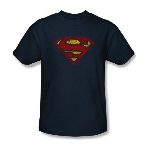 Superman-Maglietta da uomo, taglia S, colore: blu effetto crepato blu navy