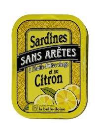 Scatola di sarde senza bordi in olio d'oliva e limone