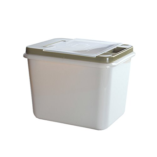 Großes grünes Kunststoff-Rechteck Luftdichter Reiseimer 1-stufiger Reisbecher Reisglas Mehlbox Keep Fresh 10KG und 15KG Müslibehälter mit Griff und Rolle Lebensmittel-Müslischachtel (30 Pfund Reis)