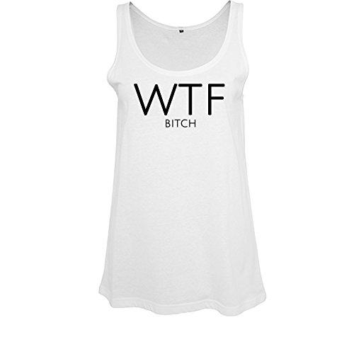 Top per ragazze oversize con motivo slogan wha´t the f... casual Top lungo 100% cotone (399-B19-White-XL)