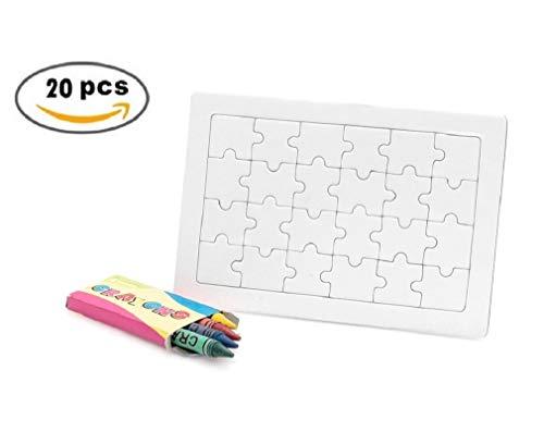MIRVEN Lote de 20 Puzzles en Blanco con 4 Ceras de Colores Cada uno para Colorear. Regalo Ideal para niños en cumpleaños, comuniones, Bodas y Fiestas.