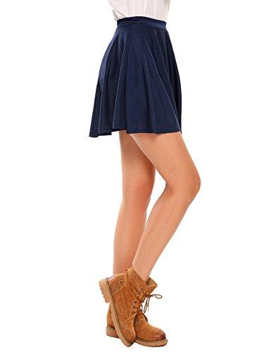 Parabler Damen Mädchen Basic Rock Minirock Skater Rock Kurz Faltenrock für Valentinstag Blau