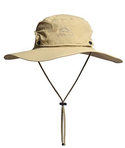 HIKEMAN Sonnenhut für Herren und Damen, Outdoor Sonnenschutz breite Krempe Eimer Hut Wasserdicht Atmungsaktiv UV-Schutz Packable Boonie Hat für Safari Angeln Strand Golf, Khaki - Columbia Khaki
