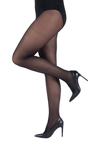 Ulla Popken Damen große Größen bis 60/62 | Fein-Strumpfhose | Elastisch, Blickdicht | 40 DEN | breiter elastikbund | schwarz 44/46 641315 10-44+