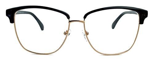 tolle 60er Jahre Nerdbrille für Damen im Vintage Look Halbrahmen Klarglas FCN (schwarz)