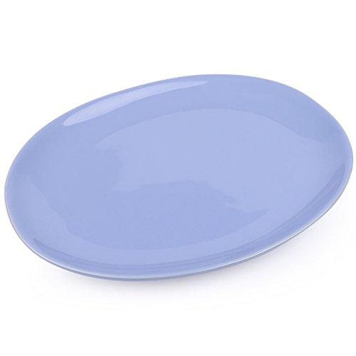 vancasso, Victoria Plaque de service en porcelaine , plaque à steak ovale de 14 po, grande assiette à dîner, bleue