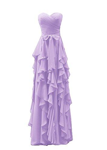 Bridal_Mall -  Vestito  - linea ad a - Senza maniche  - Donna Lilla