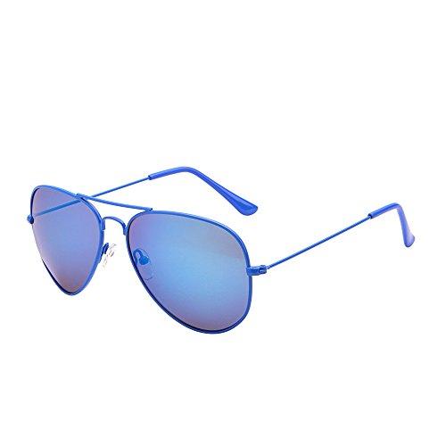 JM Retro Spiegel Flieger Sonnenbrille Blitz Getönt Linse Brille für Damen Herren UV400(Blau/Blau)