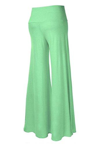 Smile YKK Pantalon Evasée Femme Large Jambe Pantalons Longues Grande Taille Sport Yoga Jogging Vert Léger