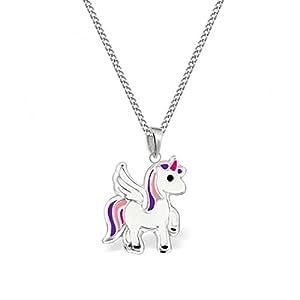 GH* kl. Alicorn Einhorn ANHÄNGER + KETTE 925 Sterling Silber Mädchen Kinder Pedasus Pferd Geschenkidee