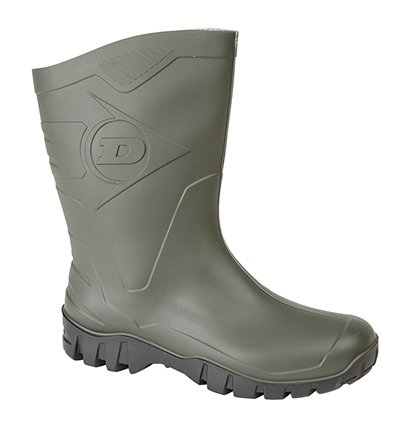 DUNLOP WIDE-CALF HALF-HEIGHT WELLIES Green/Black Sole 9 UK