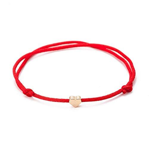 JAHAMOTA Filigranes Armband Damen mit Herz in Gold | Handgefertigt für ewige Freundschaft Rot Armband