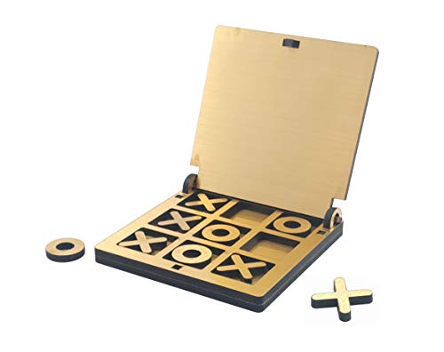 Golden Feather Wooden Tic Tac Toe Portable Game for Kids and Adults Golden Mirror Shade