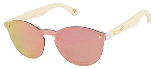 WOO LANDO - Red Star - Echtholz Bambus Sonnenbrille, rahmenlos, rote Vollverspiegelung, Rahmen aus PC, Bügel Vollholz, UV400 (Red Star Sonnenbrille)