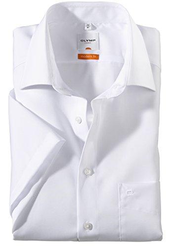 Olymp Luxor Herren Modern Fit Hemd, 0300/12/00, Halbarm, Weiß, 47