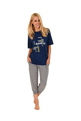 Damen Pyjama mit Rundhals, Kurzarm, Text-Motiv, Uni Capri-Hose, Marine/Grau, 58997, Gr. L 44/46 (Capri-pyjama-hose)