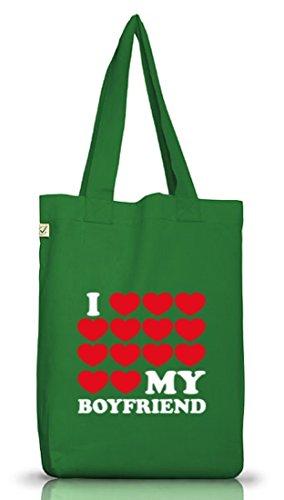 Shirtstreet24, I LOVE MY BOYFRIEND 3, Valentinstag Jutebeutel Stoff Tasche Earth Positive (ONE SIZE) Moss Green