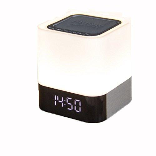 Preisvergleich Produktbild Neue Kreative Tischlampe Lautsprecher LED Bunte Berührung Fütterung Nachtlicht Wecker Bluetooth-Lautsprecher Beste Lampe Für Teenager Männer Frauen Kinderschlaf Hilfe,  Weiß