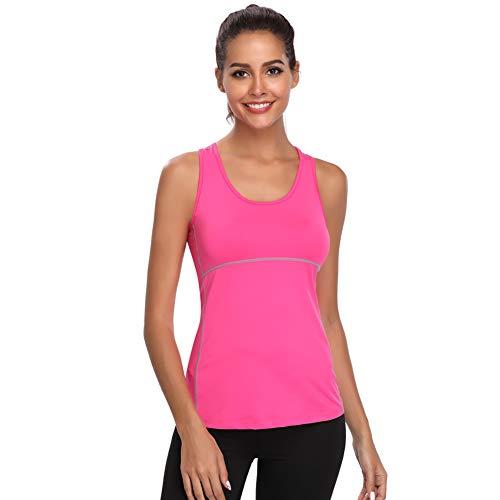 Joyshaper Sport Top Damen Sportoberteile Quick Dry Tank Top Dehnbare Sportshirt Training Shirt für Yoga Fitness Joggen oder als Alltägliche Sommer Kleidung, Rosa, S -