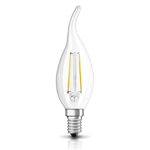OSRAM LED Retrofit CLASSIC BA / LED lamp, classic mini candle shape, retro design, in filament style, with screw base: E14, 2 W, 230 V, 23 W replacement, clear, Warm White, 2700 K,
