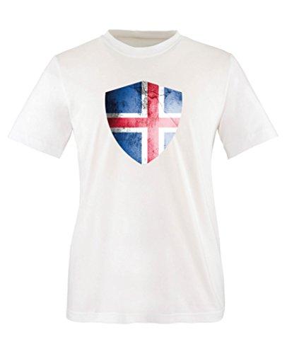 Comedy Shirts - Island Trikot - Wappen: Groß - Wunsch - Kinder T-Shirt - Weiss / Royalblau Gr. 110-116