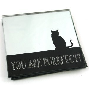 Set of 2 You Are Purrfect! Mirrored Glass Coasters with Cat design by Black Ginger