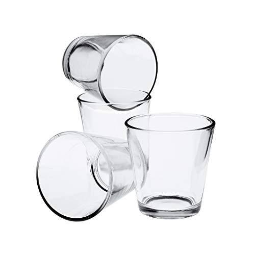 INNA Glas 4X Kleines Teelicht Glas/Teelichthalter Alex, klar, 6,5cm, Ø 6,5cm- Dessertglas /Deko Kerzenglas
