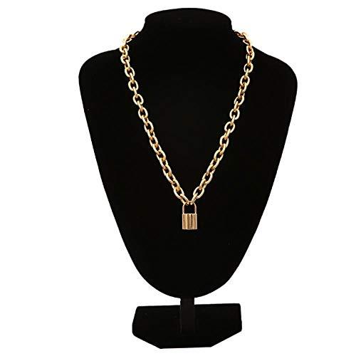 ATHQ Coole Gold Und Silber Große Kette Kragen Lock Runde Halskette Damen Herren Schmuck Zubehör, Gold -