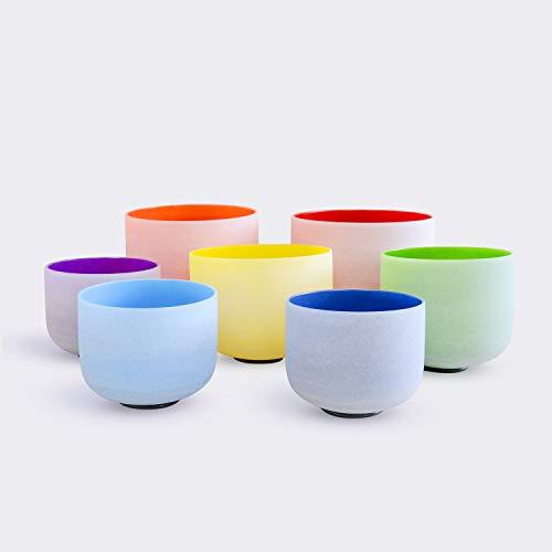 TOPFUND® Perfekt Tonhöhe Chakra Set von 7 farbigen Gefrostet Kristall Klangschale 20cm-30cm -
