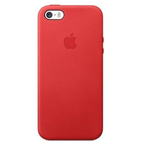 Original Apple iPhone Leather Case - Hochwertige Handy Hülle – Leder Handytasche für Ihr Smartphone – Cover In verschiedenen Farben und Varianten (iPhone 5/5s, Rot)