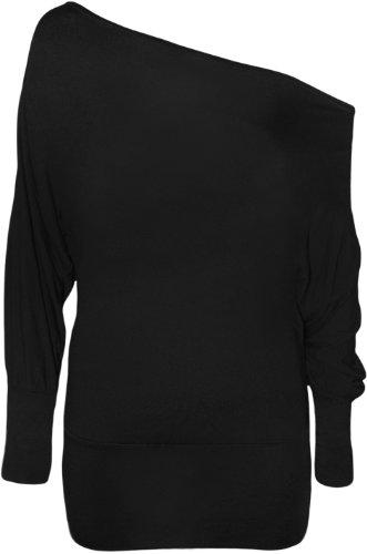 WearAll - Damen einfach aus Schulter 'Batwing' Tunika langarm Top - Schwarz - 44-46 (Island Kleidung)