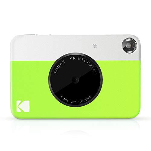 Kodak Printomatic - Cámara de impresión instantánea, imprime en Papel Zink 5 x 7.6 cm con respaldo adhesivo, verde neón