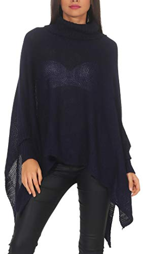 Kostüm Italien Frauen - Malito Damen Pullover | Poncho mit Rollkragen | schicker Strickpullover | Kostüm - Oberteil 7349 (dunkelblau)