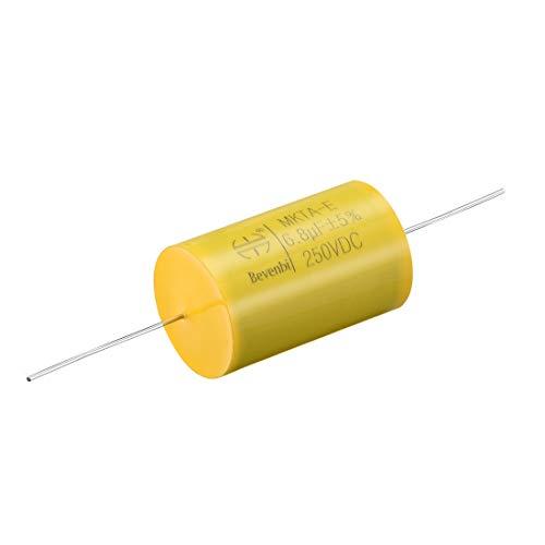 sourcing map 250V DC 6,8uF Runder Axialer Kondensator Polyester Folien für Audio Teiler Gelb -