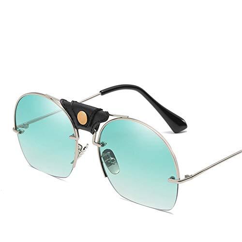 Wenkang Fashion Sunglasses Designer Men Women Vintage Black Blue Eyewear Lens Sun Glasses Shades Semi-Rimless Sunglass,4