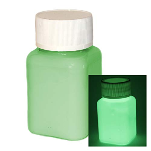 lumentics Premium Leuchtfarbe 100ml - Im Dunkeln leuchtende Farbe, Helle Nachleuchtfarbe, Selbstleuchtende Wandfarbe, UV Glühfarbe, Glow (Grün)
